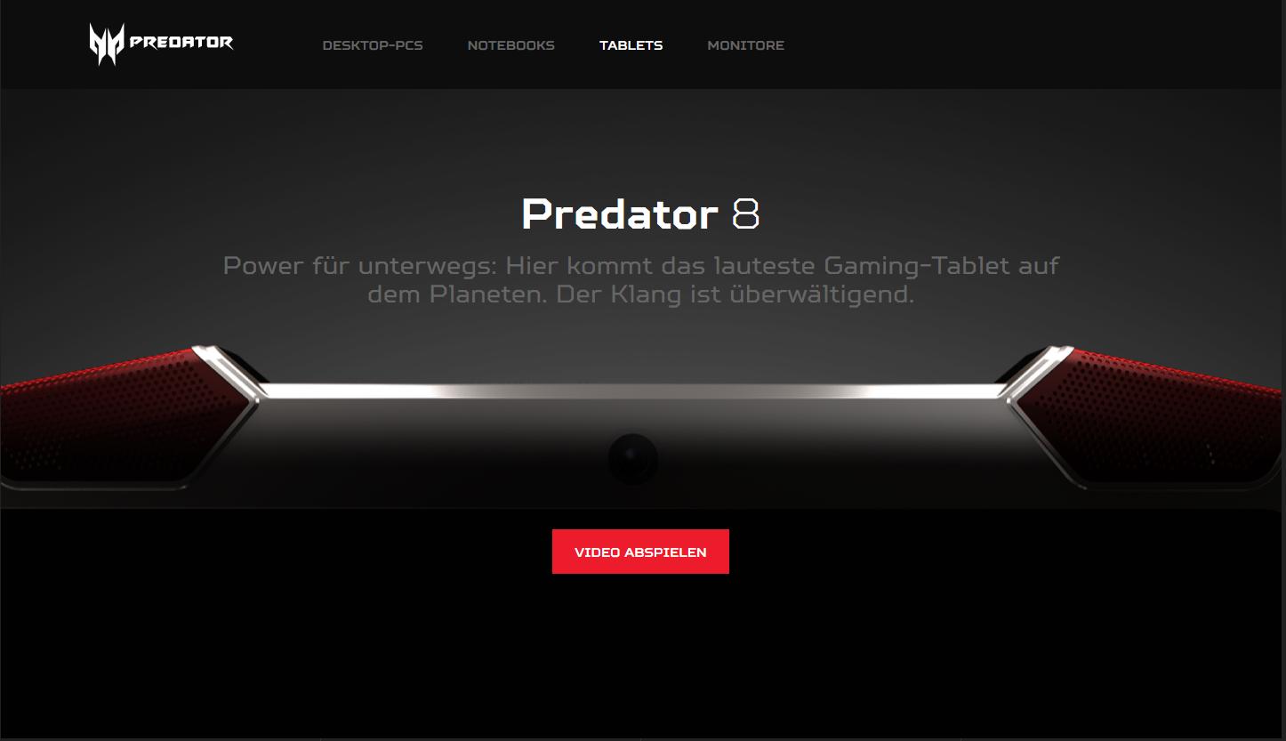 Acer stellt mit dem Predator 8 sein erstes Gaming-Tablet vor