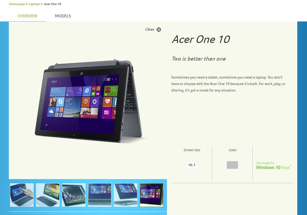 Hybrid-Netbook Acer One 10