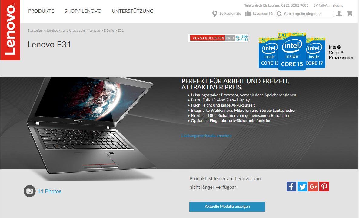 Günstiges Arbeitsgerät: Lenovo E31-70