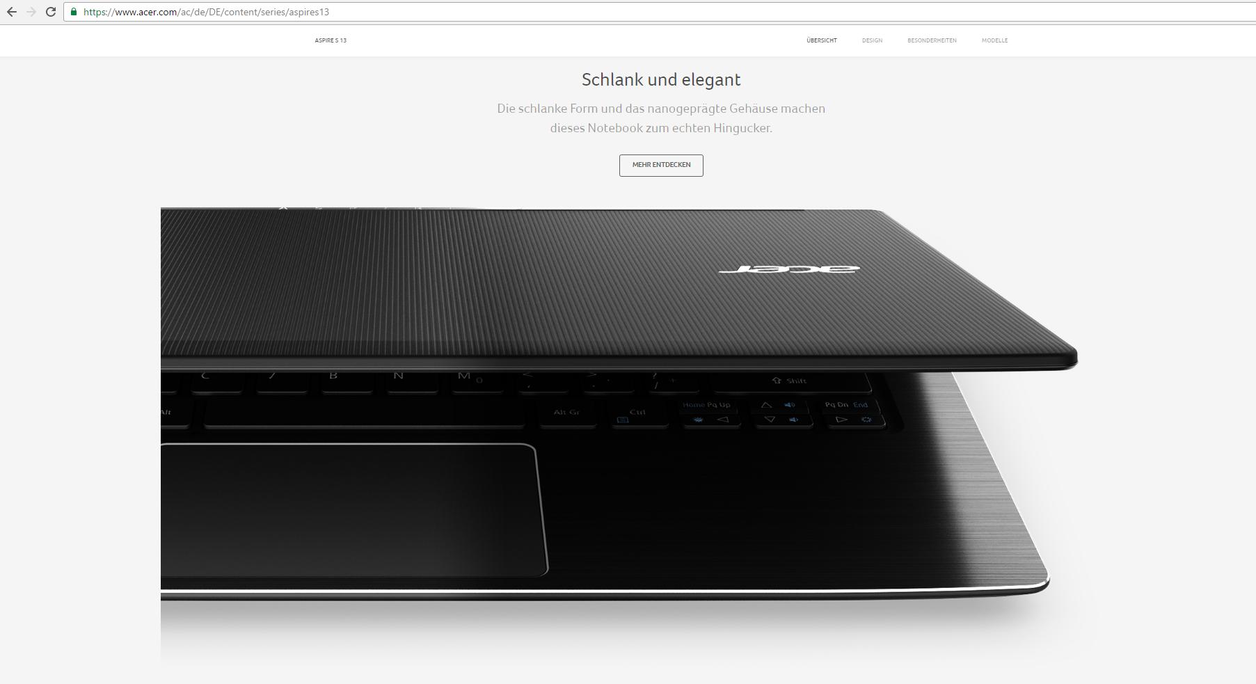 Acer Aspire S13: Kräftiger Prozessor für viele Aufgaben